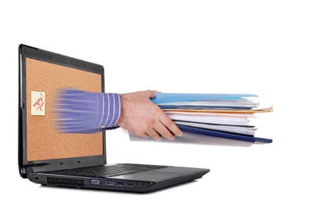 hand with paperwork coming out of laptop screen Stock Photo - 16380950