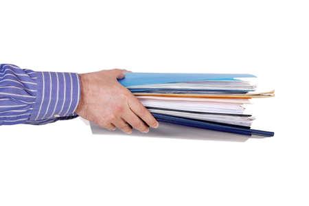 Hände mit Dateien und Ordnern auf weiß