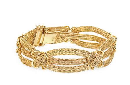 antique gold bracelet on white Stock Photo - 17499522