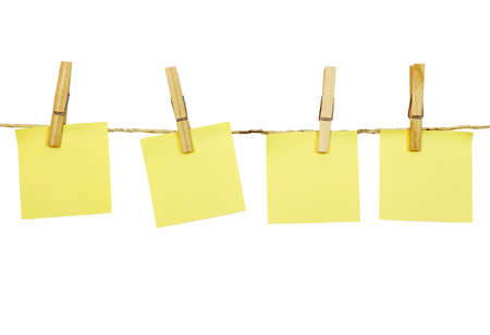 clothes pegs: blank post-it notes on clothesline