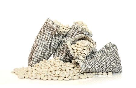 three sacks with dry beans photo
