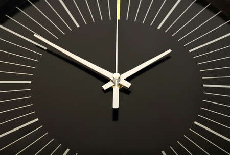 black clock face closeup photo