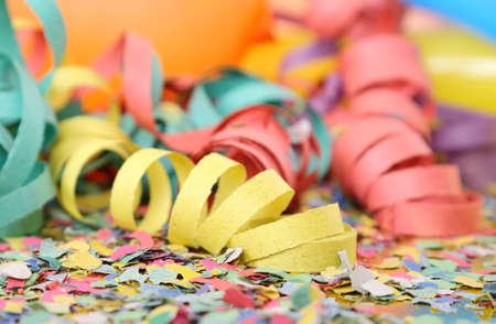 celebration party: party streamers, confetti and balloons Stock Photo