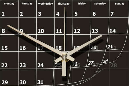 time concept with calendar and clock photo