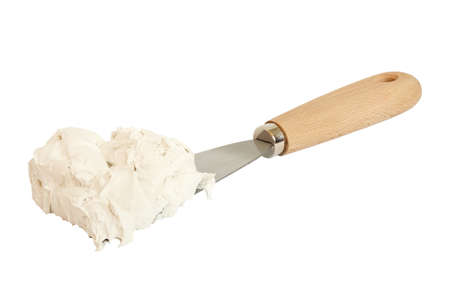 spatula with putty isolated