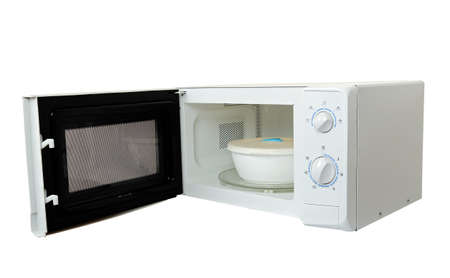 microwave oven with bowl isolated  photo