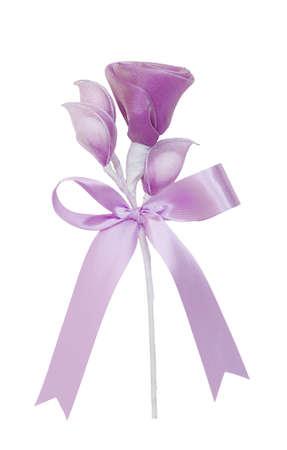 sugarplum: purple chiffon rose on white Stock Photo