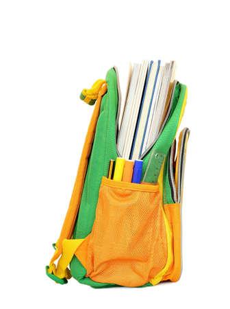 mochila escolar: bolso de escuela con los libros en blanco