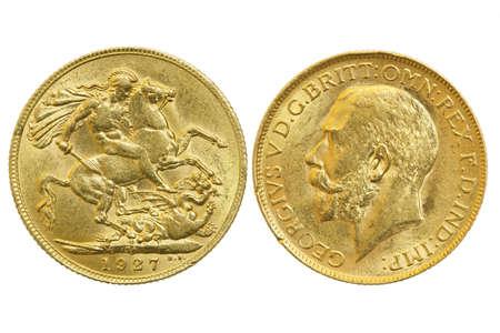 beide Seiten der souveränen 1927 Münze isoliert auf weiß Standard-Bild
