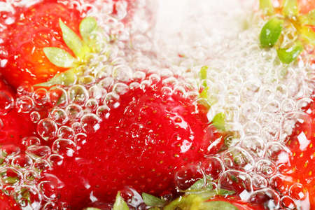 strawberries in bubbly water Stock Photo - 19134663