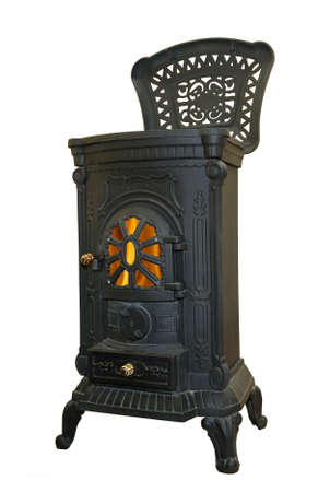 retro wood stove isolated