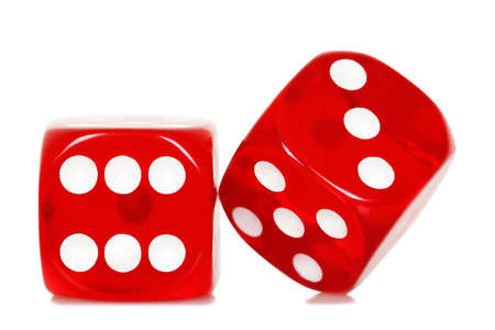 two red dice on white