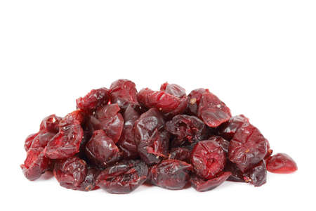 heap of cranberries on white