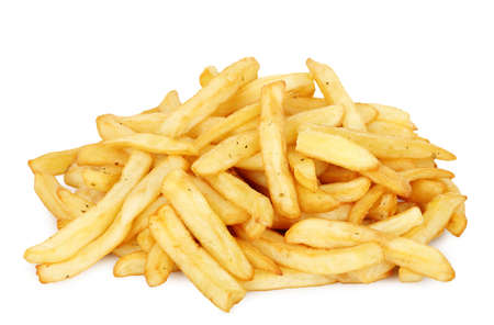 portion of french fries on white