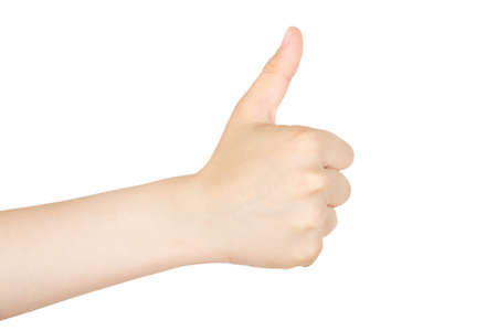 ok hand: thumbs up gesture from boy Stock Photo