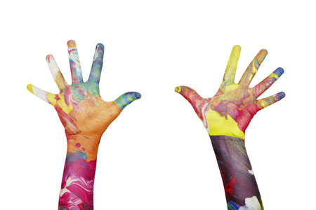 kids painted hands: extended colorful hands on white