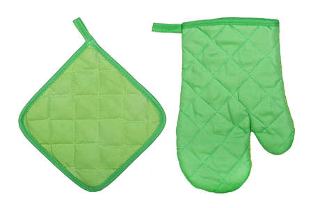 green kitchen glove and potholder isolated