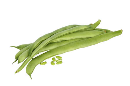 long bean: fresh runner beans on white