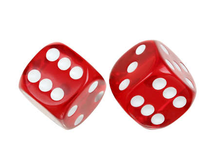 two red transparent dice on white photo