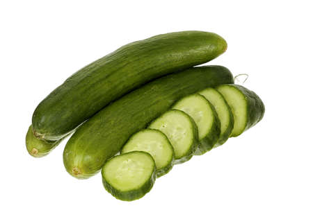 whole and sliced cucumber isolated on white