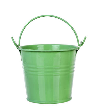 green bucket isolated on white background