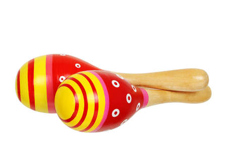 pair of red maracas isolated on white photo