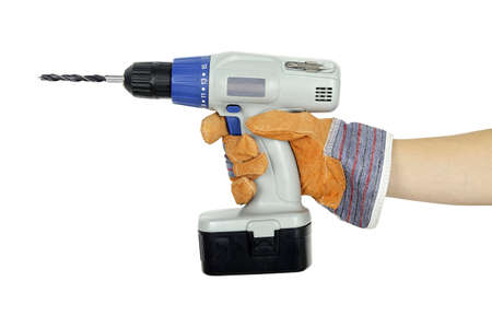 hand in protective glove with cordless drill Stock Photo - 21966336