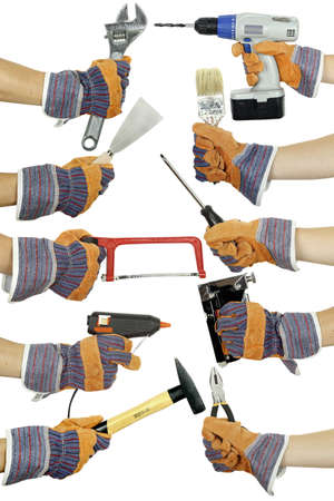 hands holding various tools on white isolated photo