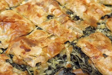 fillo: traditional homemade spinach pie closeup