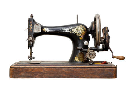 sewing machine: vintage sewing machine isolated on white Stock Photo