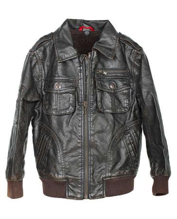 chaqueta de cuero: chaqueta de cuero marr�n aislado en blanco