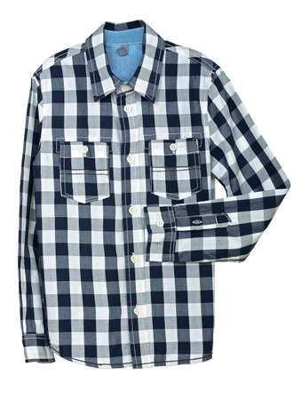 checked shirt: blue and white checked shirt on white