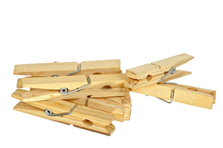 clothes peg: wooden clothes pegs isolated on white