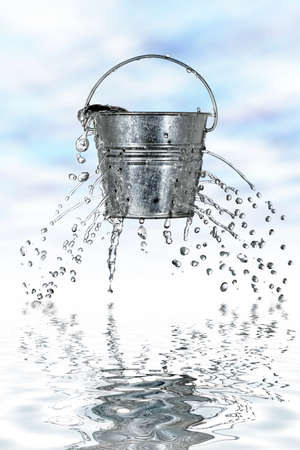 coming out: water is coming out of a bucket with holes