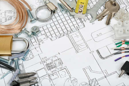 house construction concept with variety of items on blueprint Stock Photo - 25305973