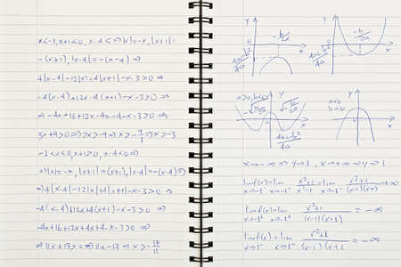 equations: notebook with handwritten mathematical equations
