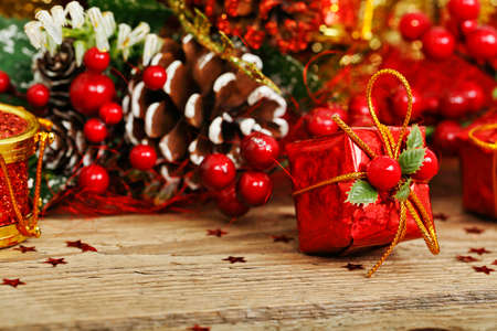 natale: xmas present on wooden surface