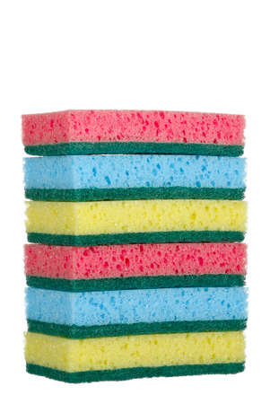 scouring: stack of colorful sponges on white Stock Photo