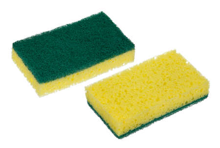 both sides of new kitchen sponge isolated photo