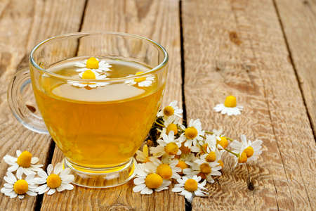 chamomile tea: cup of chamomile tea with chamomile flowers