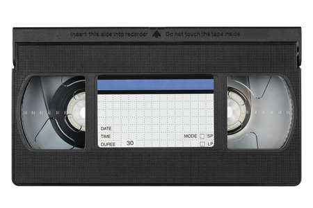 videotape: videotape with label on white