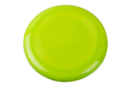 green frisbee isolated on white