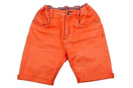 orange pair of denim shorts isolated on white Imagens