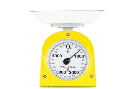 kg:  new kitchen scale isolated on white Stock Photo
