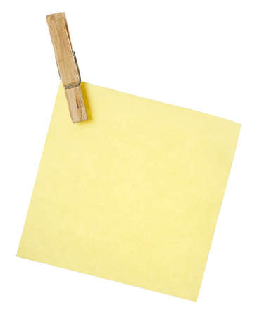 yellow note with wooden peg isolated Stock Photo