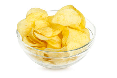 potato chips in bowl isolated on white