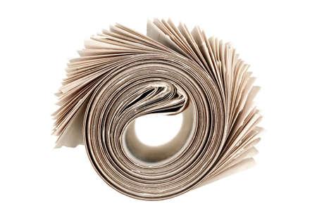 丸めた新聞紙を白で隔離 写真素材