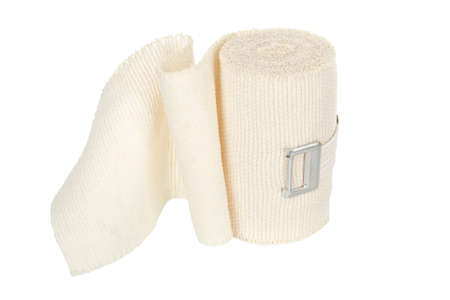 medical dressing: elastic bandage isolated on white Stock Photo