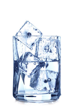 melting ice: glass of water with ice cubes on white