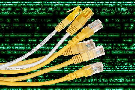 isdn: six internet cables on abstract background
